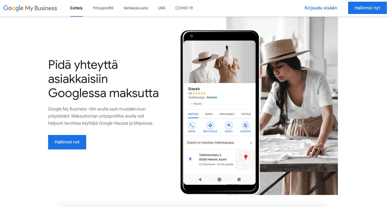 Yrityksen tietojen lisääminen Google-tiliin